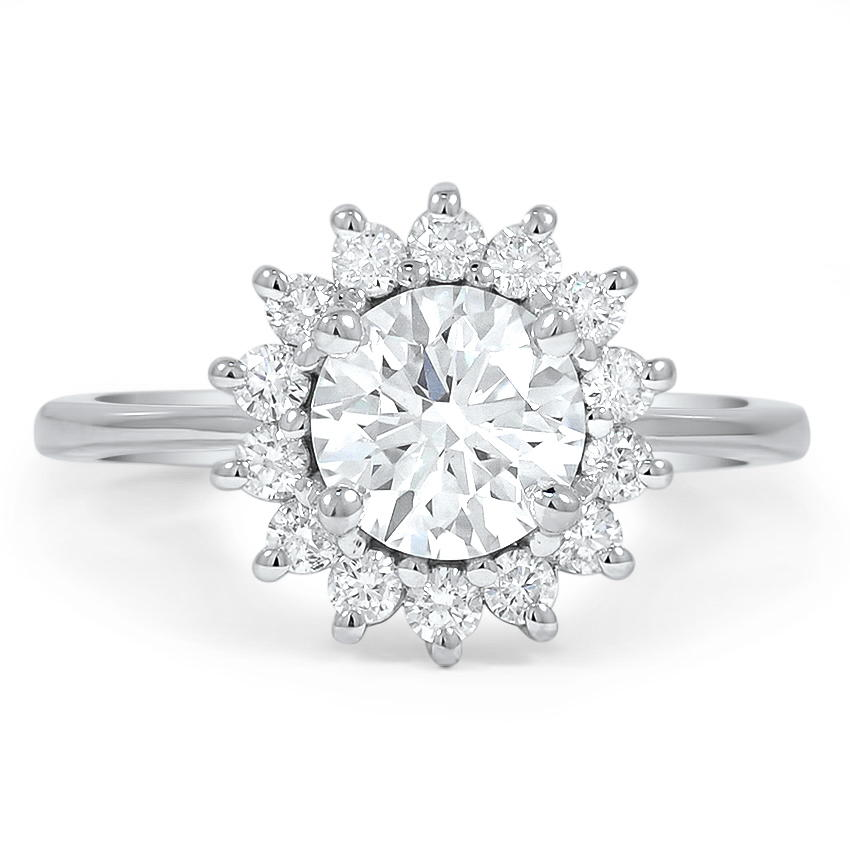 Custom Sunburst Halo Diamond Ring Brilliant Earth