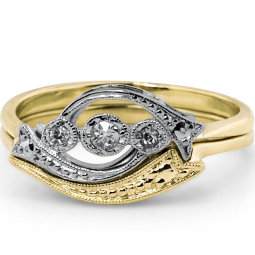 Contoured Antique Inspired Wedding Band, top view