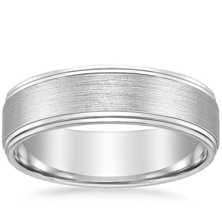 Matte Step Cut Wedding Ring