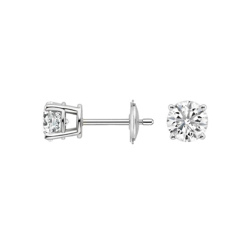 diamond earrings white ct in gold stud tw round