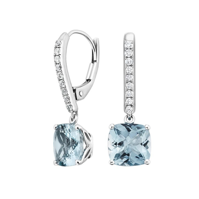 Top Twenty Gifts - 18K WHITE GOLD   AQUAMARINE AND DIAMOND DROP EARRINGS