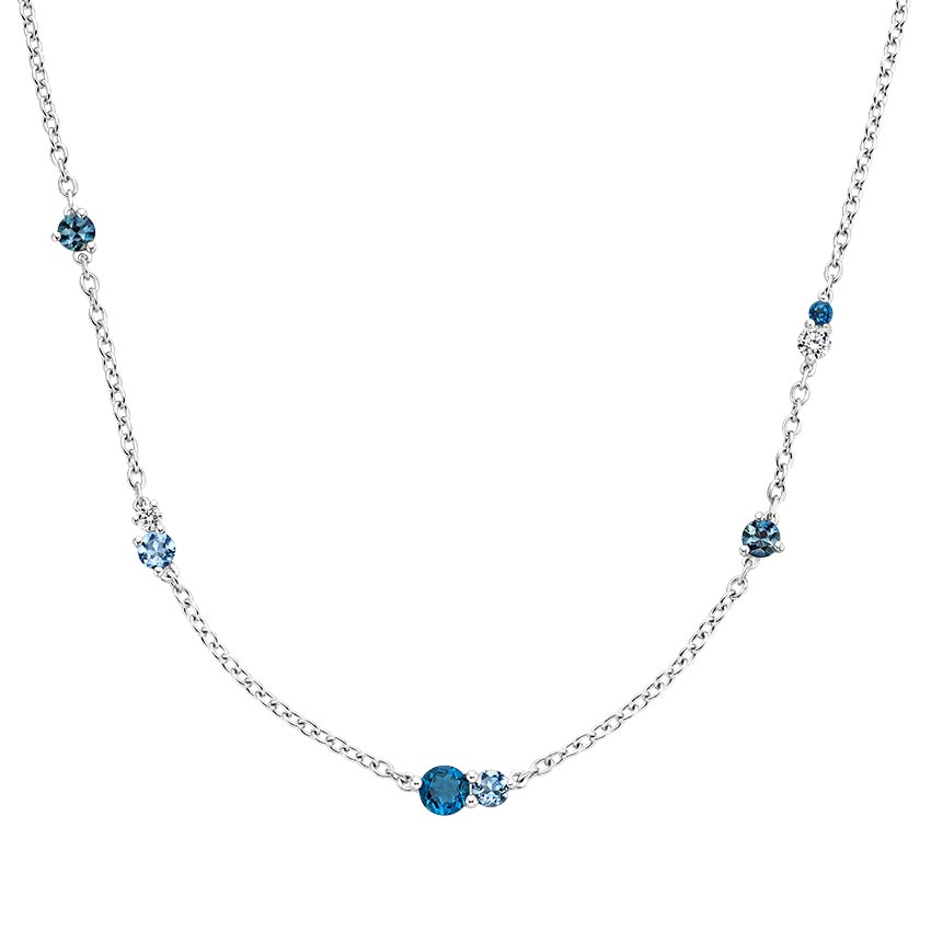 Blue Gemstone Tonal Necklace