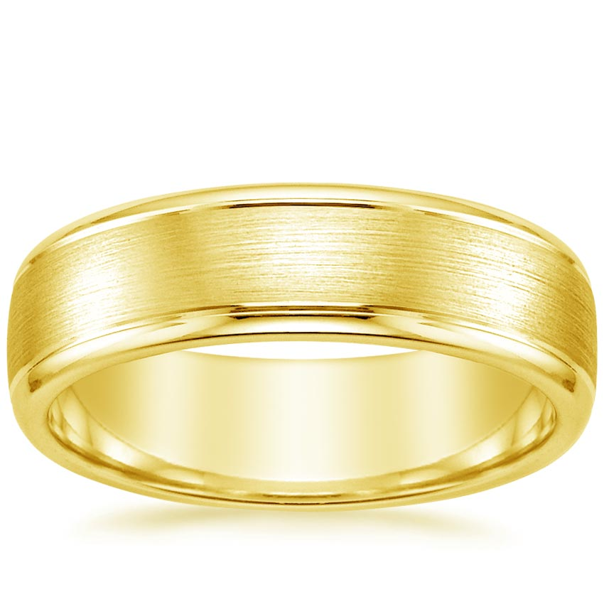 Yellow Gold 6mm Beveled Edge Matte Wedding Ring with Grooves