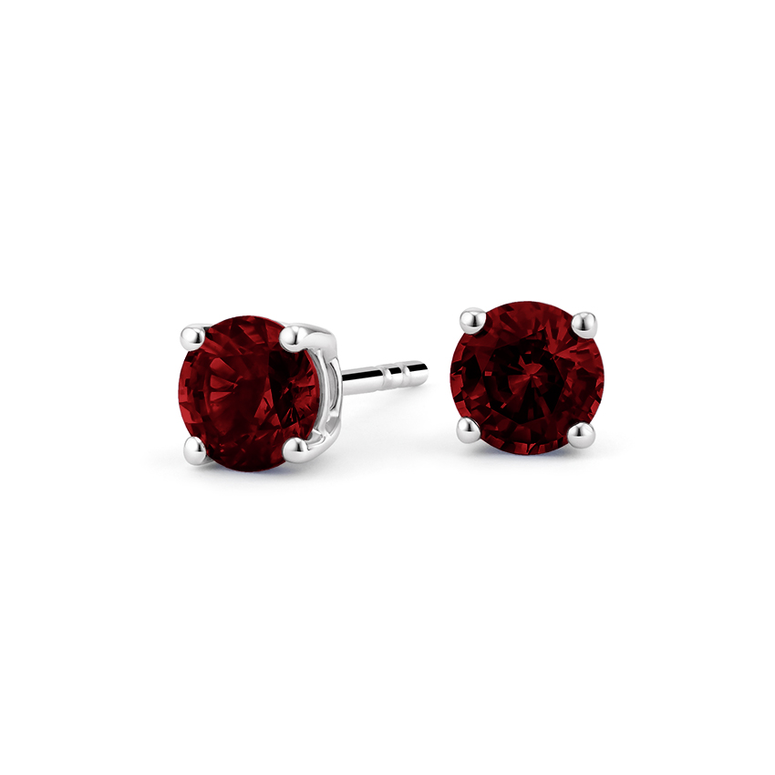 Garnet Stud Earrings in Silver