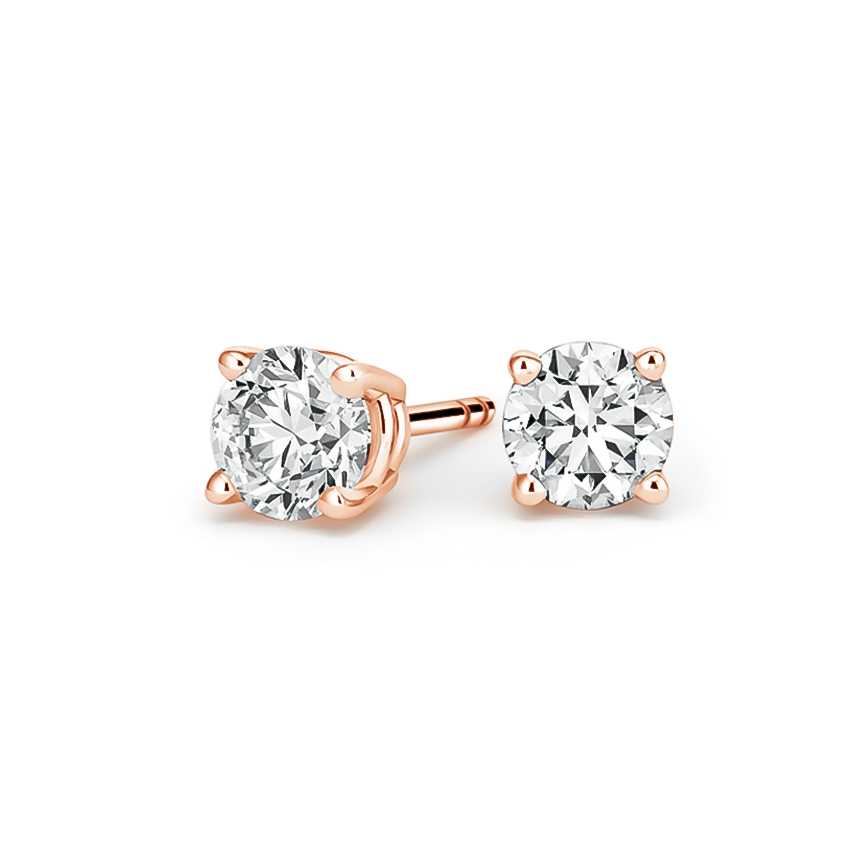 Round Diamond Stud Earrings (1 1/2 ct. tw.) in 14K Rose Gold