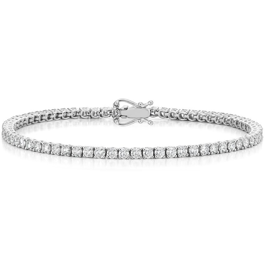0.217 cttw Round-Cut-Diamond IJ| SI 9.25 inches 18K White Gold identification-bracelets Size