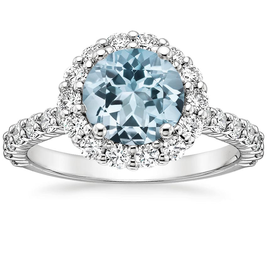Aquamarine Lotus Flower Diamond Ring with Side Stones (3/4 ct. tw.) in 18K White Gold
