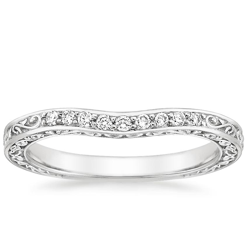 Antique Scroll Three Stone Trellis Contoured Diamond Ring in 18K White Gold