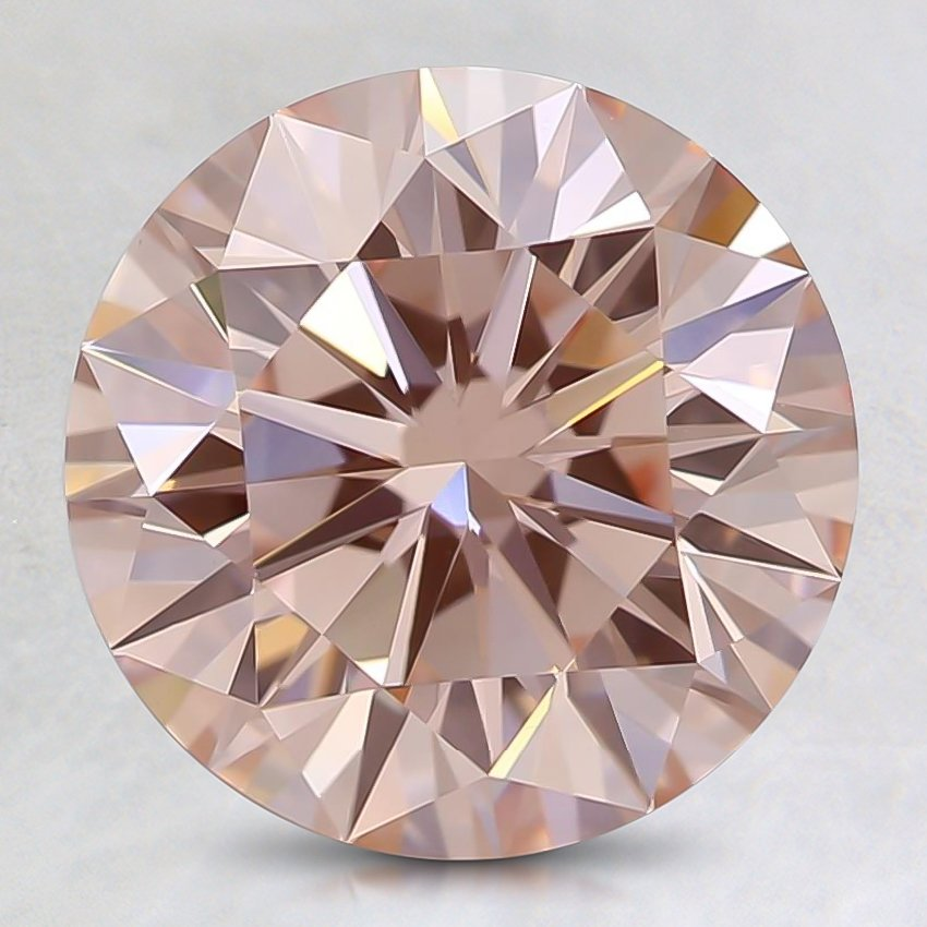 2.53 Ct. Fancy Orangy Pink Round Lab Created Diamond