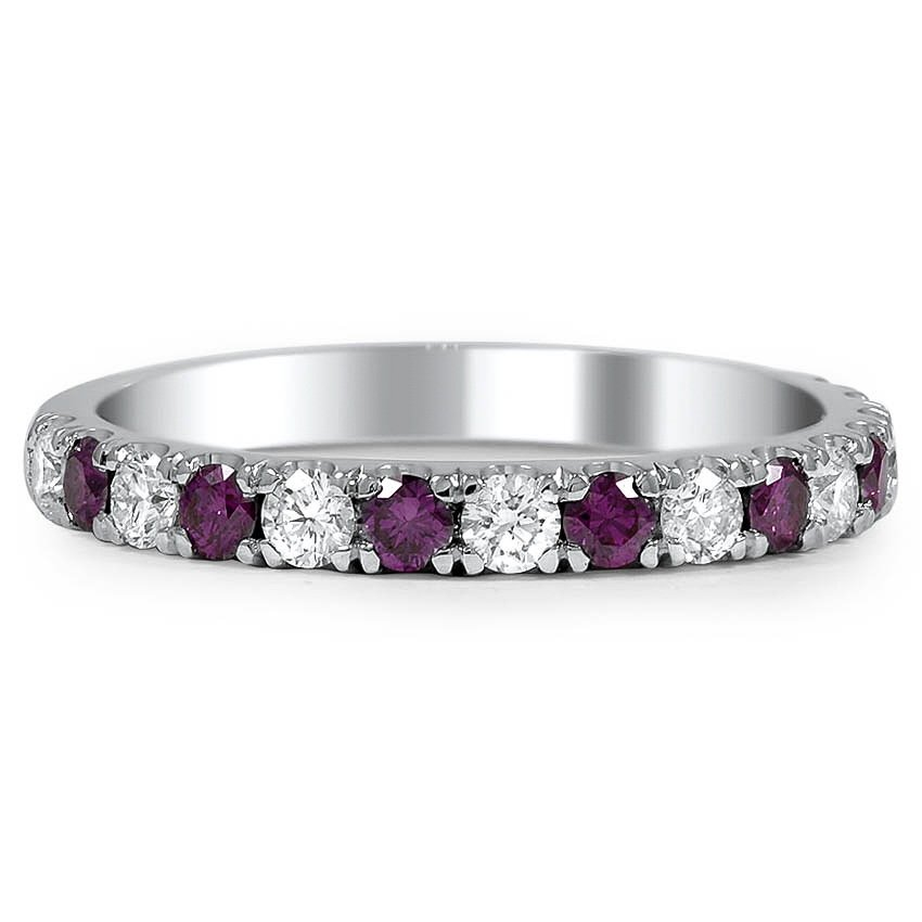 Custom White and Purple Diamond Wedding Ring