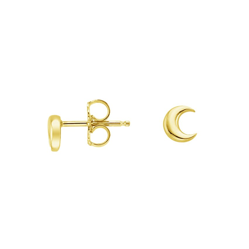 18K Yellow Gold Moon Stud Earrings, top view