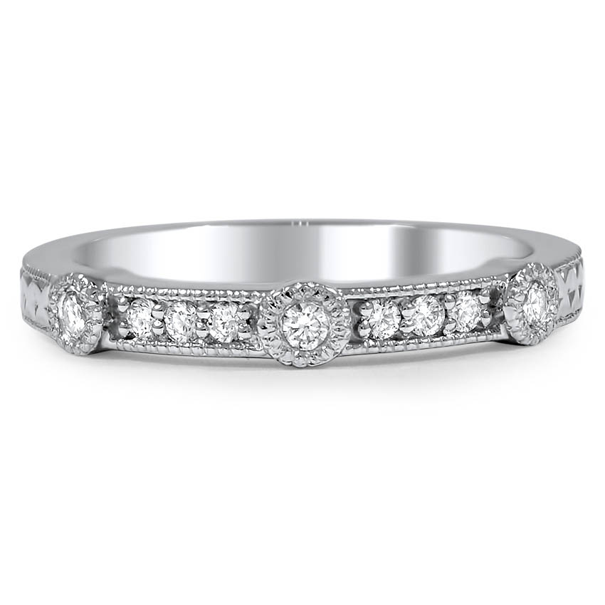 Custom Hand Engraved Bezel-set Diamond Wedding Ring