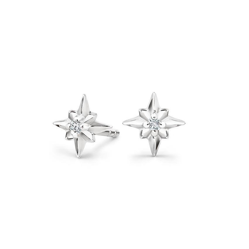 North Star Diamond Earrings in Silver