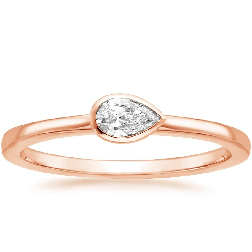 Rose Gold Pear Bezel Diamond Ring