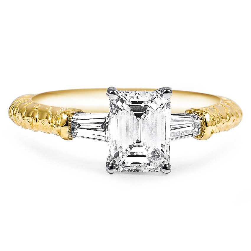 Custom Two-Tone Tapered Baguette Diamond Ring