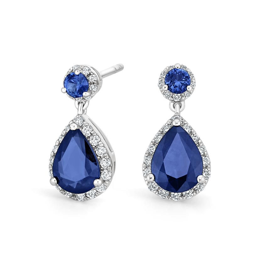 Top Twenty Anniversary Gifts - FLORENCE SAPPHIRE AND DIAMOND EARRINGS (1/3 CT. TW.)