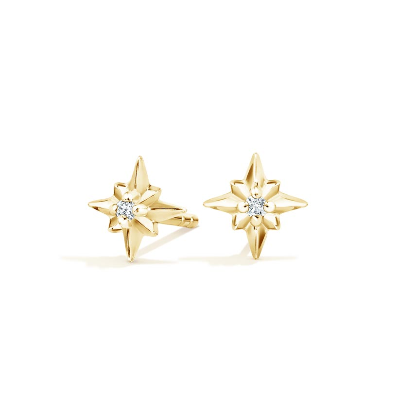 North Star Diamond Earrings in 14K Yellow Gold