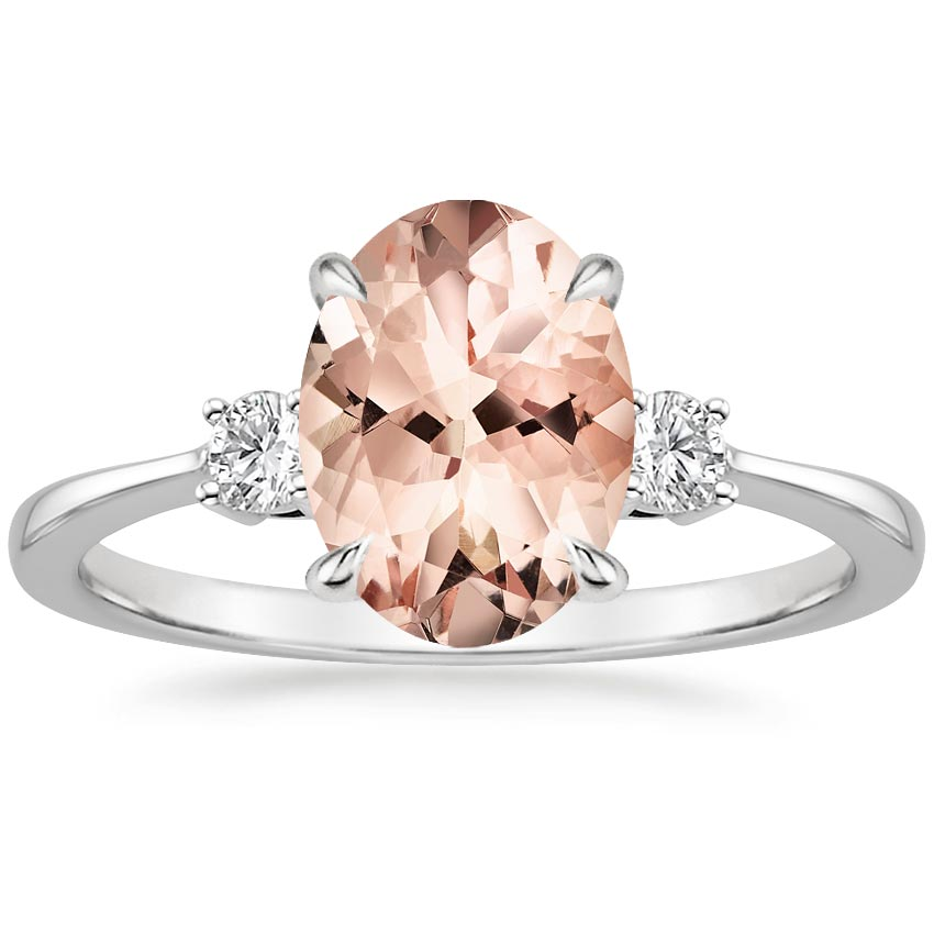 morganite selene ring in 18k white gold brilliant earth