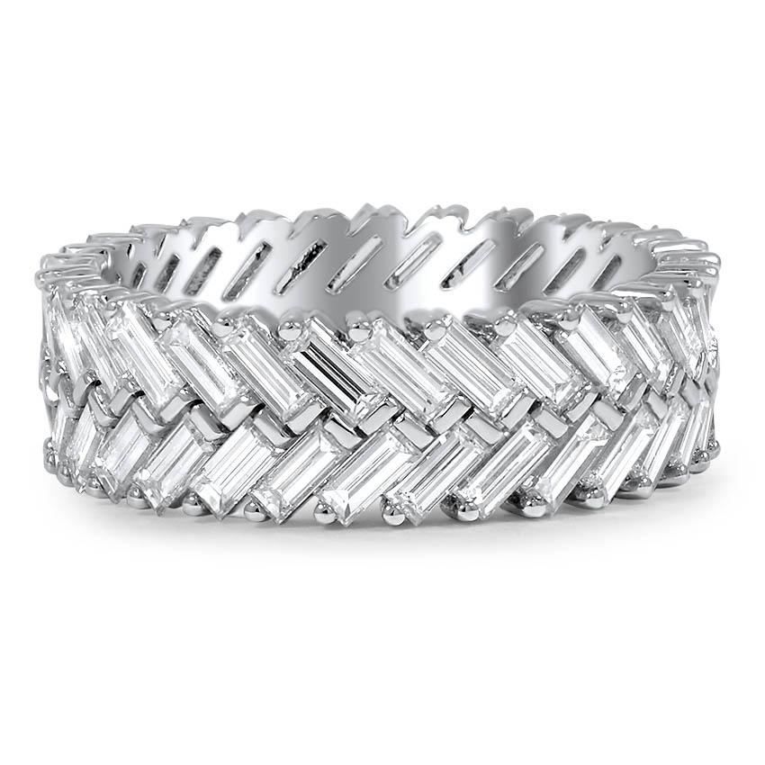 Custom Chevron Diamond Baguette Ring
