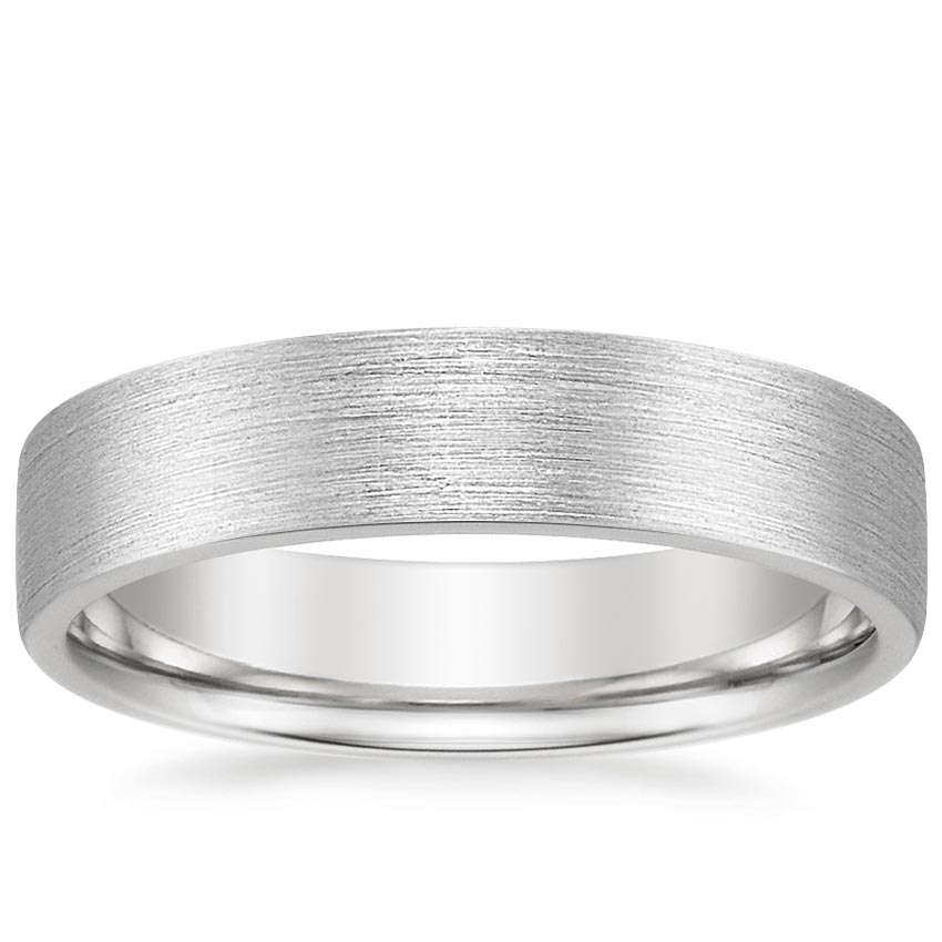 Platinum 5mm Mojave Matte Ring, top view