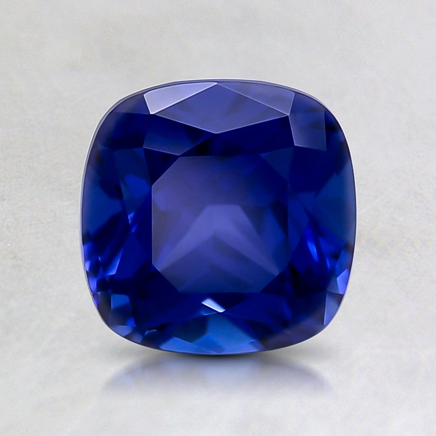 6.5mm Blue Cushion Lab Created Sapphire