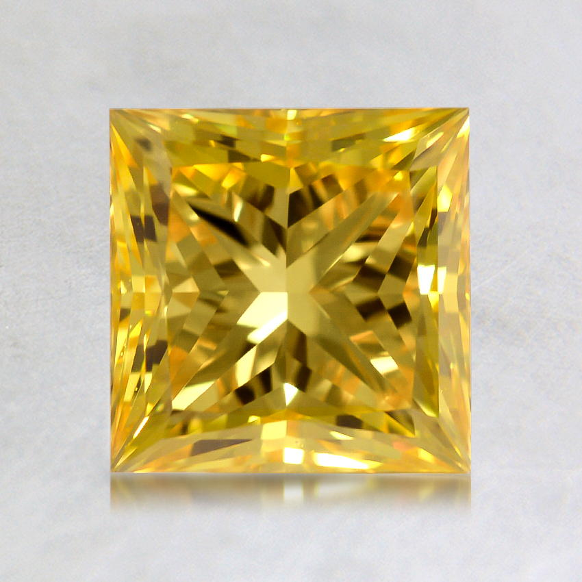 1.65 ct. Lab Created Fancy Vivid Yellow Princess Diamond, top view