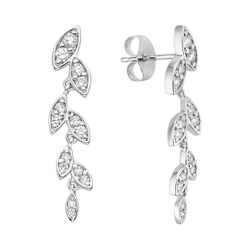 18K White Gold Wisteria Diamond Earrings, top view