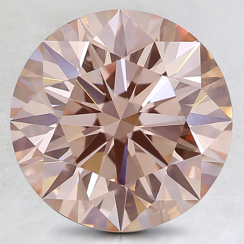 3.01 Ct. Fancy Orangy Pink Round Lab Created Diamond