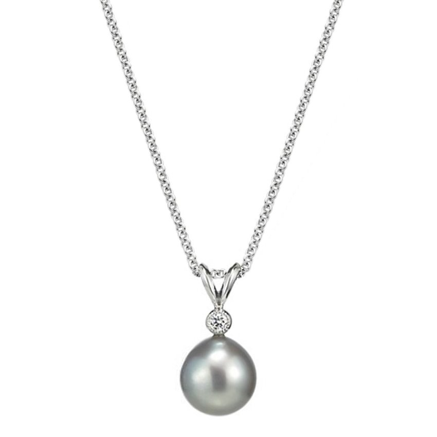 Sea of Cortez Cultured Pearl Pendant with Diamond Accent (8.5mm) in 18K White Gold