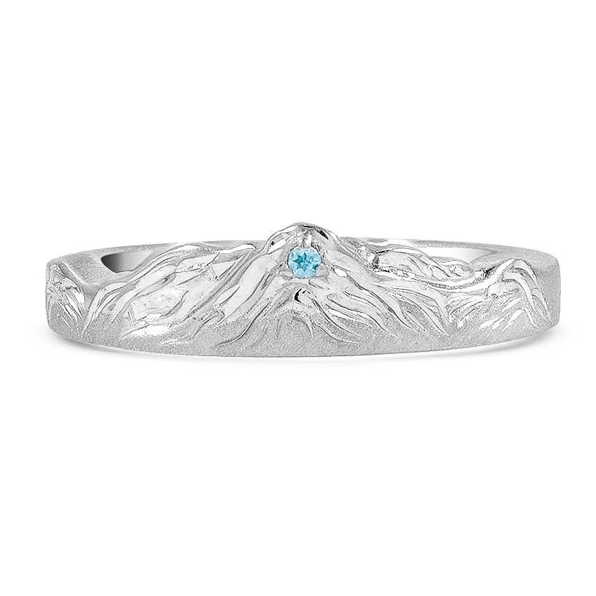 Custom Mount Pilatus Wedding Ring with Aquamarine Accent