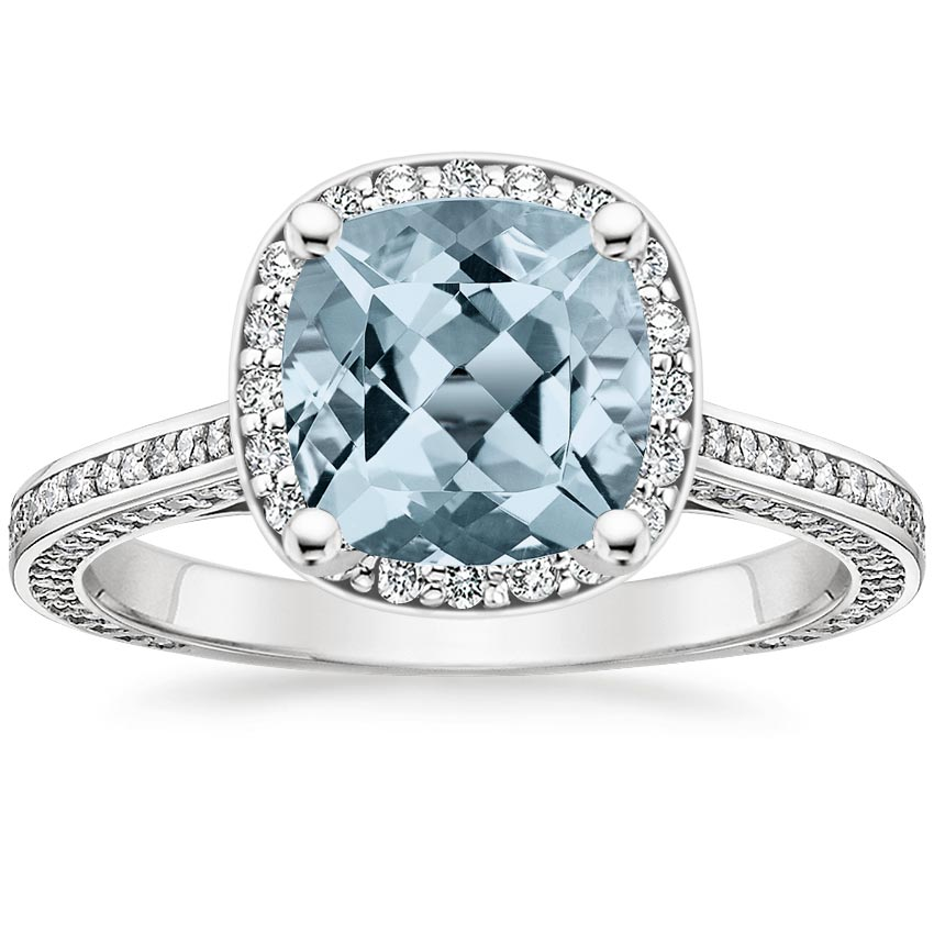 Aquamarine Enchant Halo Diamond Ring in 18K White Gold
