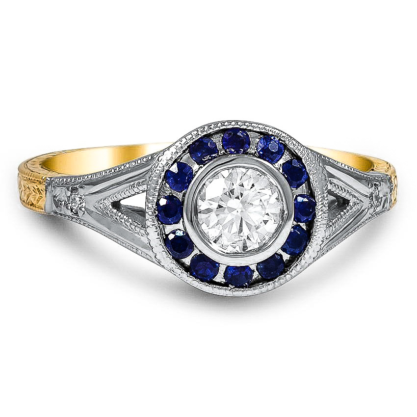 Custom Mixed Metal Sapphire and Diamond Bezel Halo Ring
