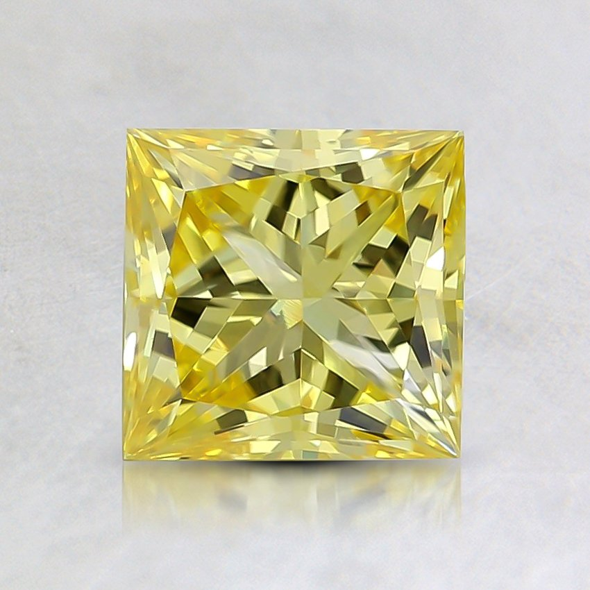 1.11 Ct. Fancy Vivid Yellow Princess Lab Created Diamond