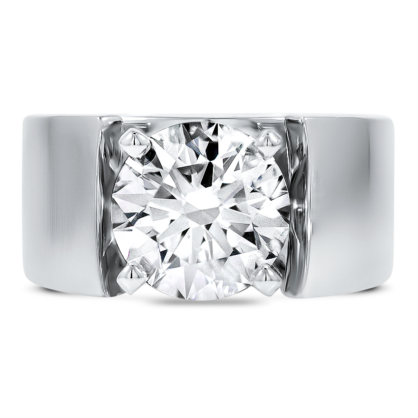 Custom Wide Band Solitaire Diamond Ring