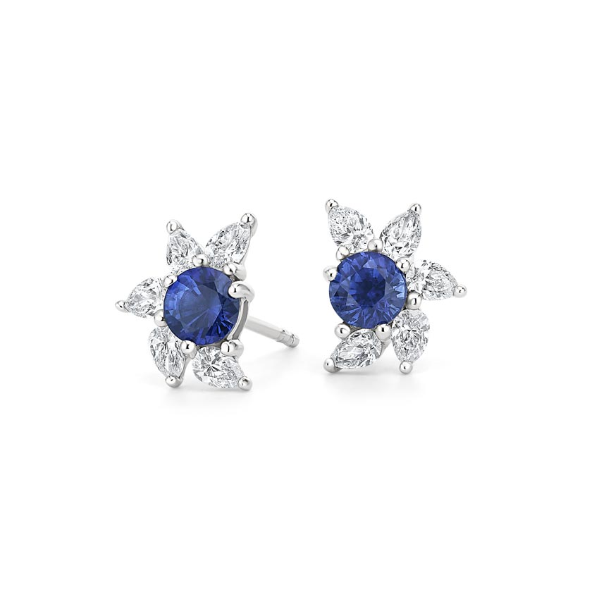 Spiral Sapphire and Diamond Earrings