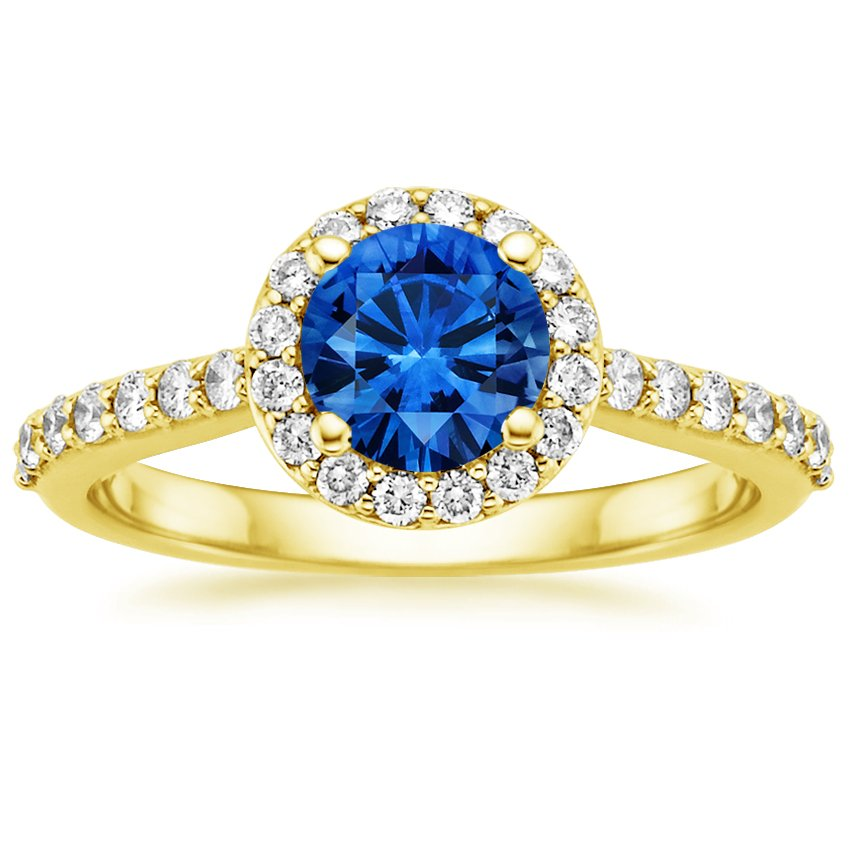 18K Yellow Gold Sapphire Halo Diamond Ring with Side Stones (1/3 ct. tw.), top view