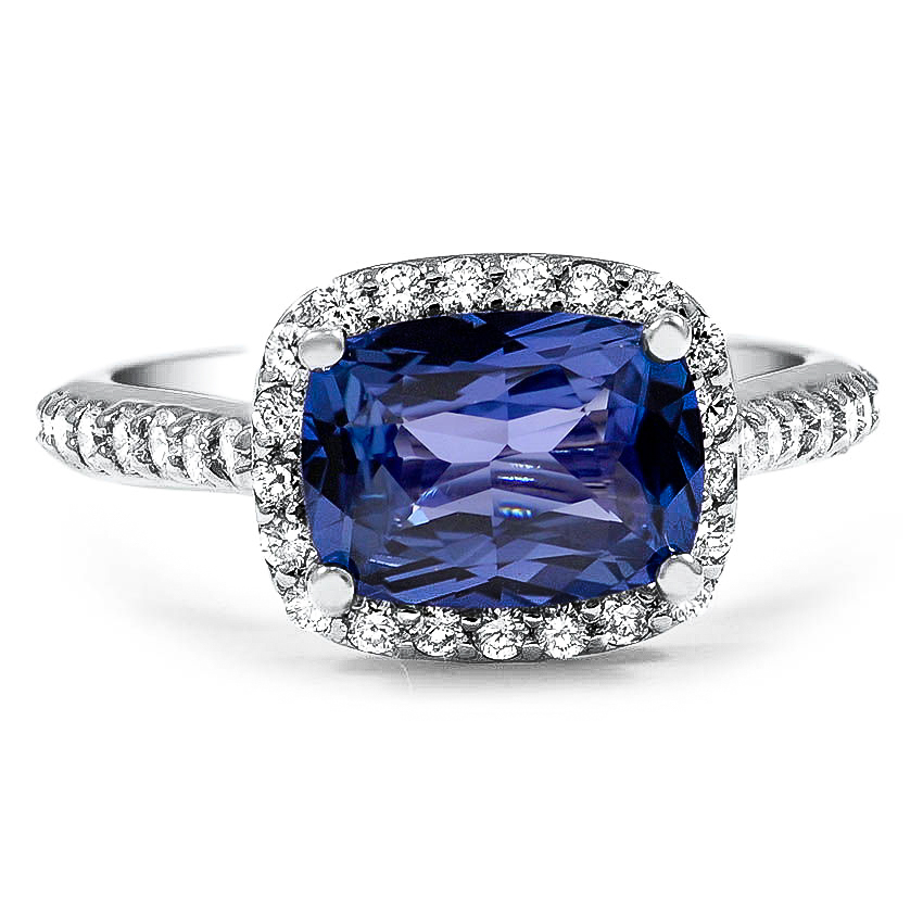 Custom Horizontal Fancy Halo Sapphire and Diamond Ring