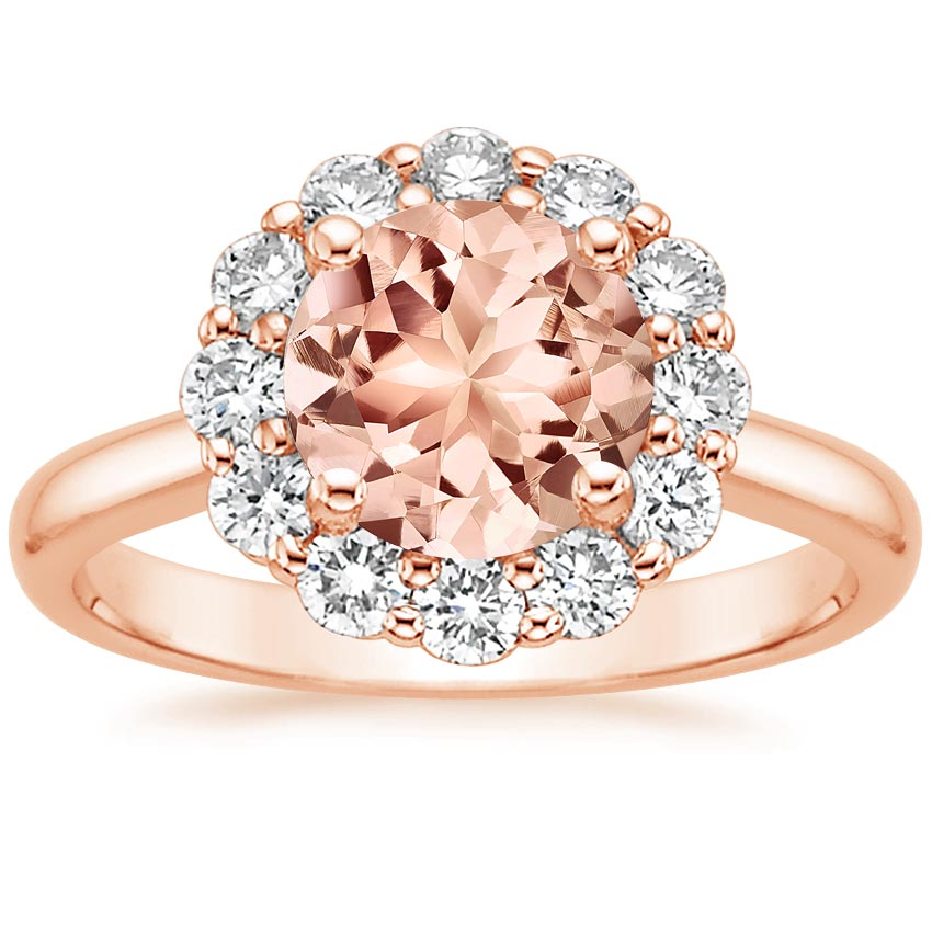 Rose Gold Morganite Lotus Flower Ring