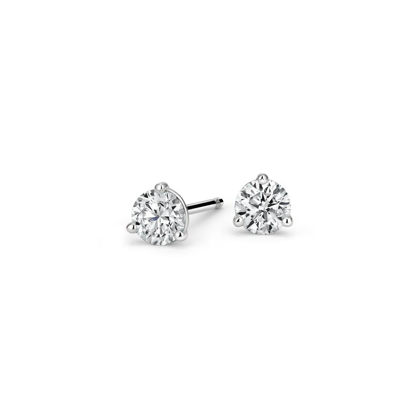 Three-Prong Martini Round Diamond Stud Earrings (1/2 ct. tw.) in 18K White Gold