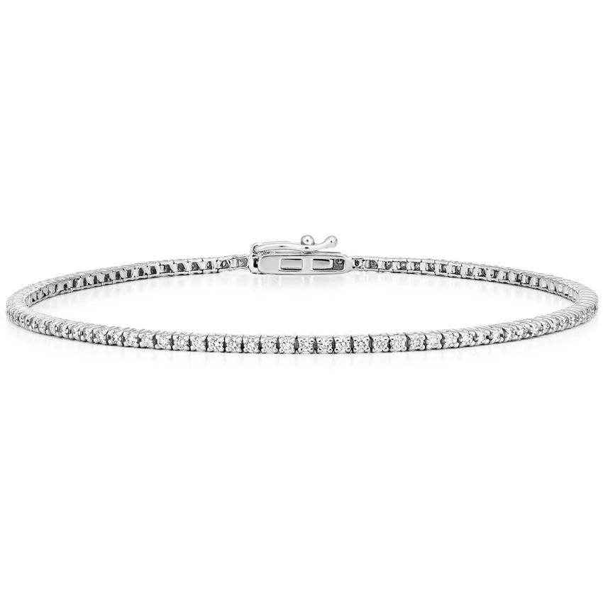 18k White Gold Diamond Tennis Bracelet 1 Ct Tw