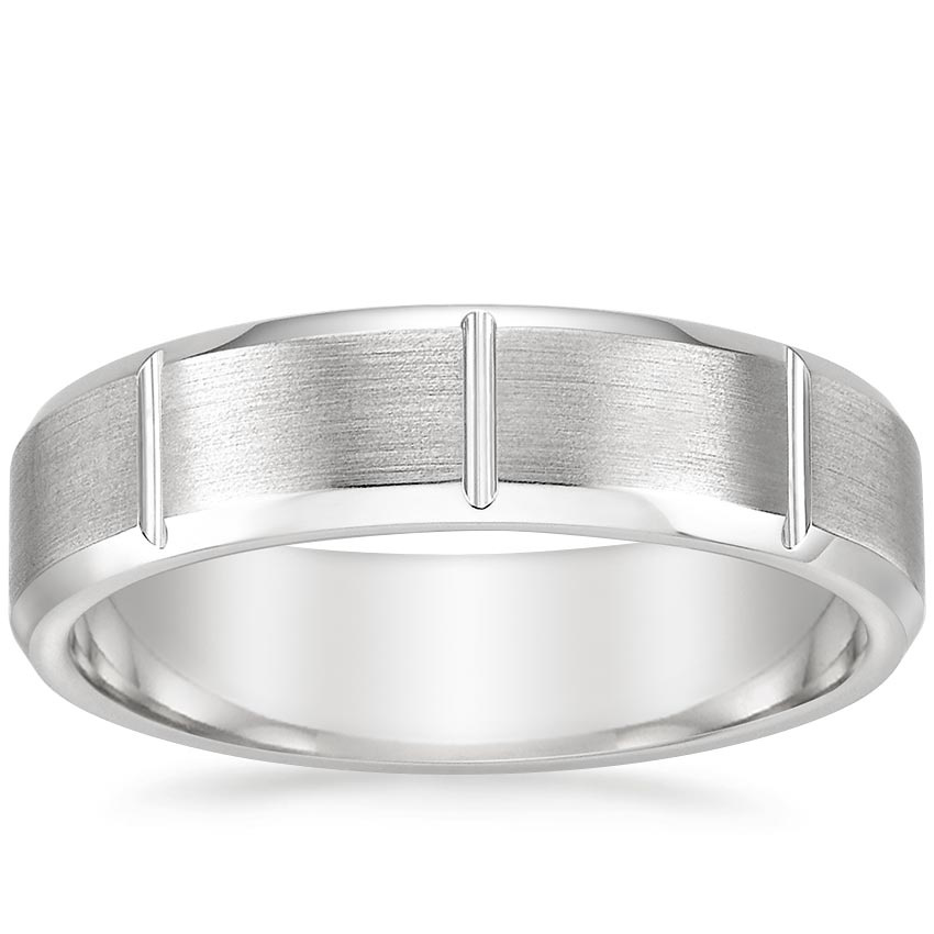 Matte Wedding Ring with Vertical Grooves