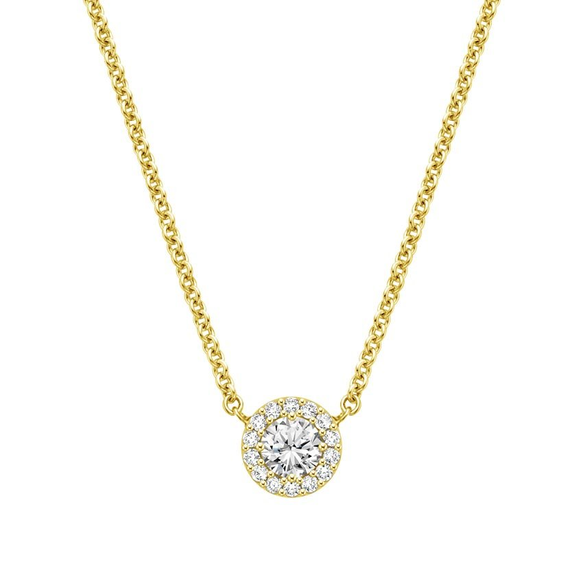 18K Yellow Gold Diamond Halo Necklace, top view