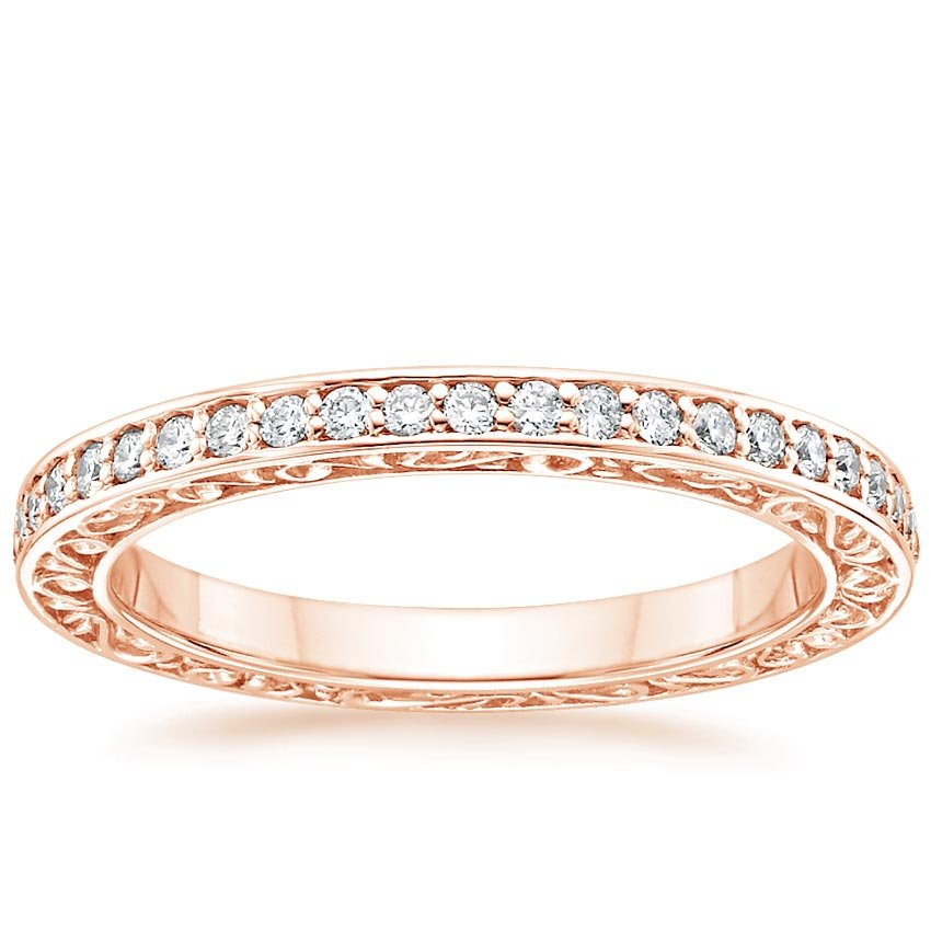 Antique Scroll Bands: Delicate Antique Scroll Ring (1/15 Ct. Tw.) In 14K Rose Gold
