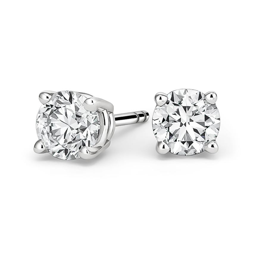 Round Diamond Stud Earrings (4 ct. tw.) in 18K White Gold