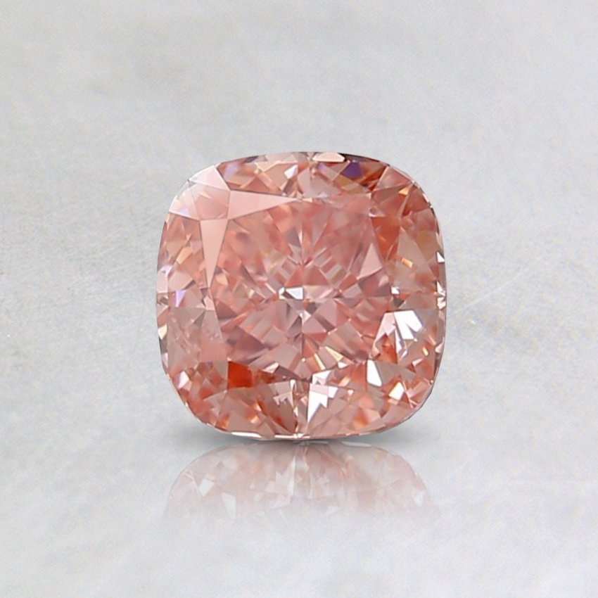 0.61 Ct. Fancy Intense Orangy Pink Cushion Lab Created Diamond