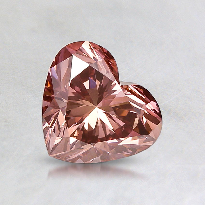 0.93 ct. Lab Created Fancy Deep Pink Heart Diamond, top view
