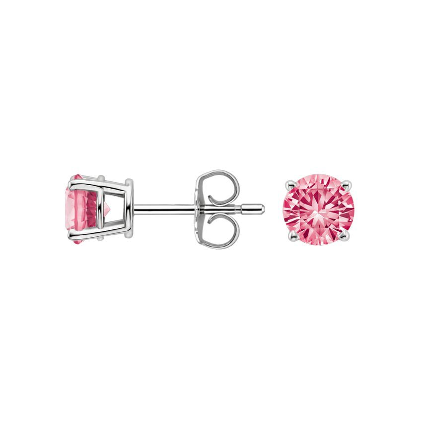 18K White Gold Pink Sapphire Stud Earrings (5mm), top view