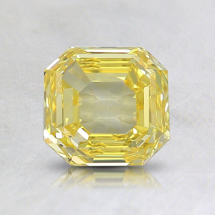 1.09 Ct. Fancy Vivid Yellow Asscher Lab Created Diamond