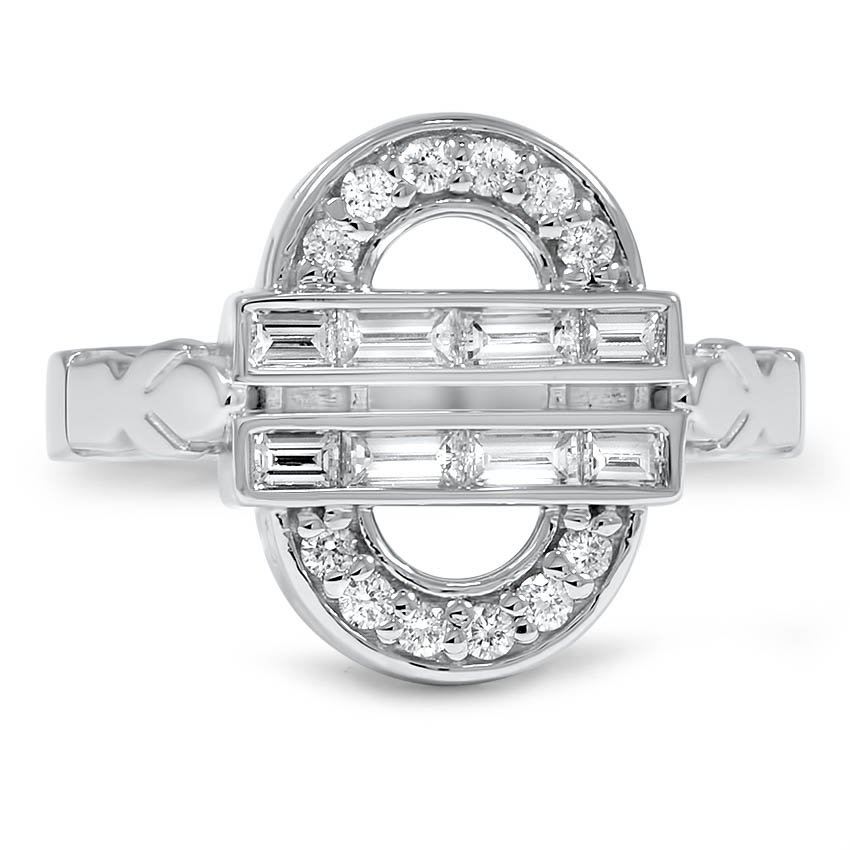 Custom Contemporary Diamond Baguette Halo Ring