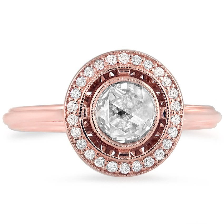 Top Twenty Custom Rings - ROSE CUT VINTAGE HALO DIAMOND RING